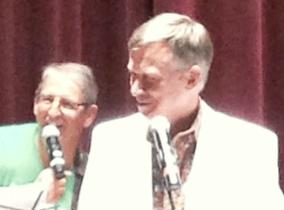 Colorado Gov. John Hickenlooper, right, with Bruce Goldberg, president of the Denver Press Club