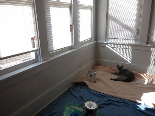 Before the trim--it's good to have a helping friend