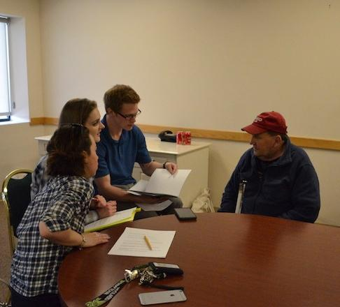 John, a CCB student, shares memories with ACC students at Colorado Center for the Blind.