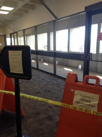 Metal beams support the fourth-floor ceiling, near room M4730, in the main building on Arapahoe Community College's Littleton campus on Tuesday, Feb. 5, 2018. The roof became structurally unsound after high winds rattled it loose Monday, Feb. 5, said custodian Paul Bosworth. ACC's facilities staff is communicating with City of Littleton inspectors to correct the issue.