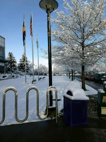 The first spring snowstorm of the year left Arapahoe Community College's Littleton campus blanketed in white the morning of Tuesday, March 27, 2018.