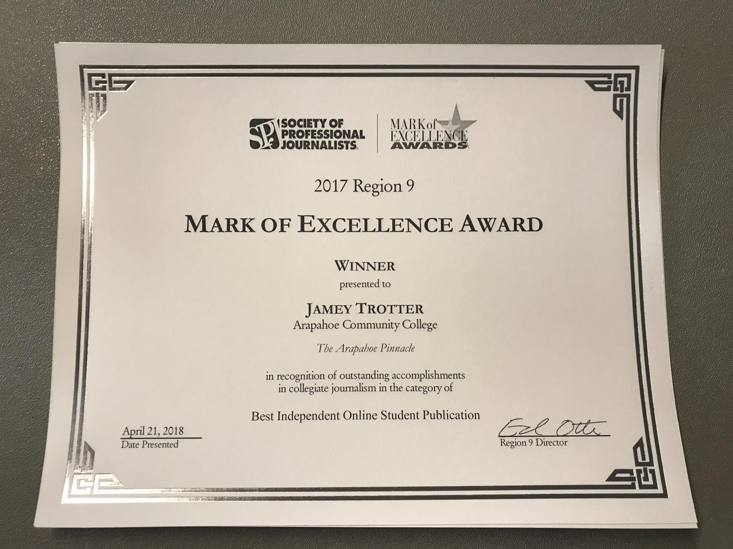 The Arapahor Pinnacle awarded Best Independent Online Student Publication by SPJ.