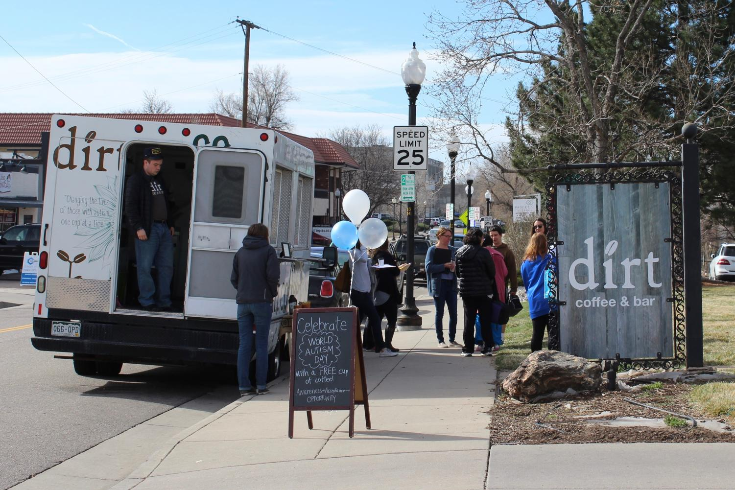 Dirt Coffee celebrates World Autism Day with free coffee in Littleton, Colo., Monday April 2, 2018.