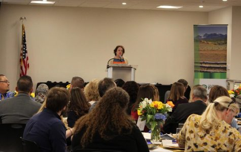 Dr. Nancy McCallin, president of Colorado Community College System, honors 27 recipients of the Rising Star Award at a luncheon Tuesday, April 10, 2018, at Arapahoe Community College in Littleton, Colorado. Camila Monroe and Rachel Zinna are ACC's 2018 recipients of the award which recognizes students with outstanding service and leadership.
