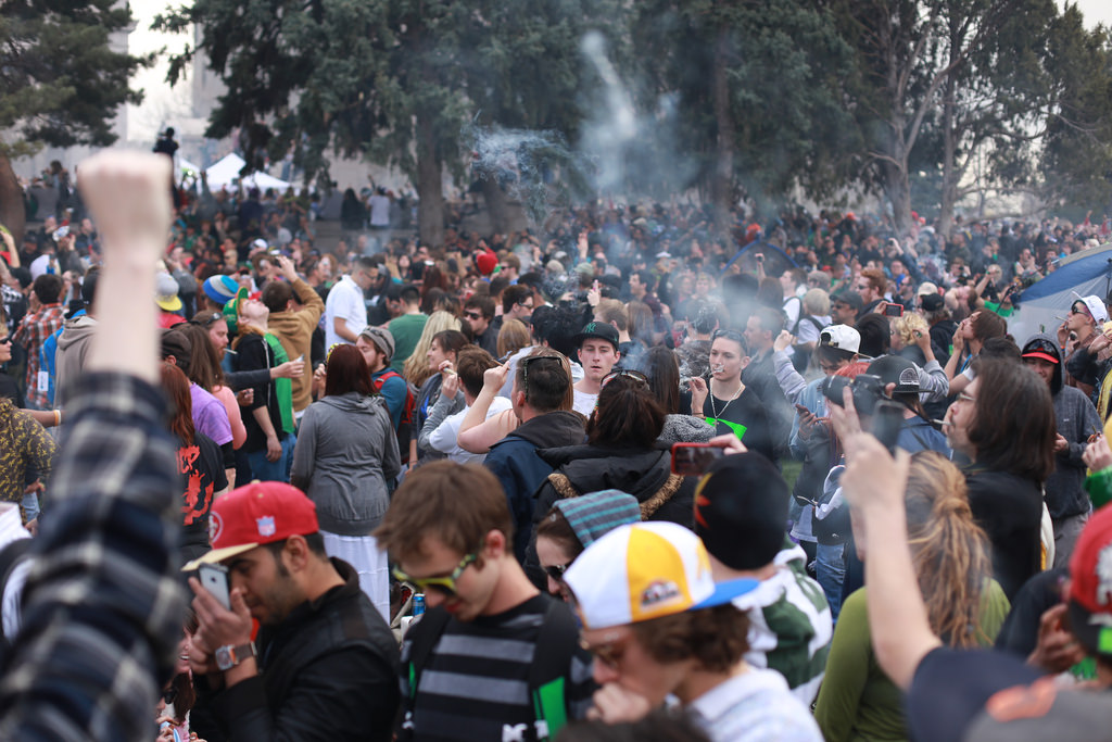 Marijuana enthusiasts alike gather in Civic Center Park to enjoy 4/20 together. (Photo Credit Flickr via Creative Commons)