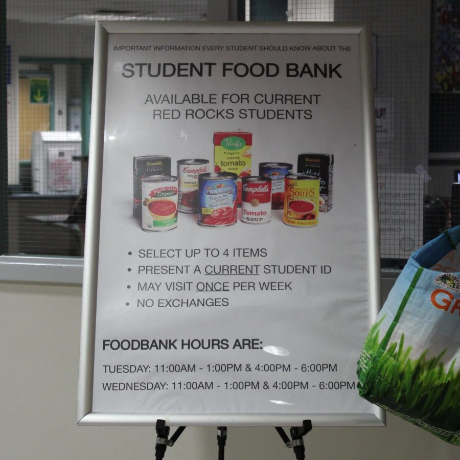 A+sign+informs+students+of+the+food+bank%27s+rules+and+hours+at+Red+Rocks+Community+College+in+Lakewood%2C+Colo.%2C+April+18%2C+2018.+Food+banks+are+one+way+colleges+can+fight+food+insecurity+on+their+campuses.