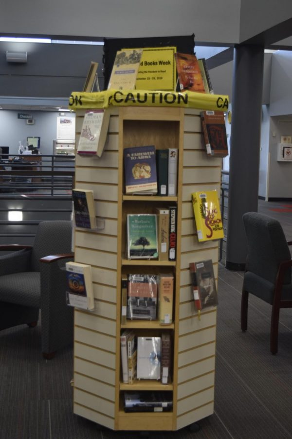 The+banned+book+shelf+at+the+Edwin+A.+Bemis+public+library+in+Littleton%2C+Colo.%2C+September+24%2C+2018.+
