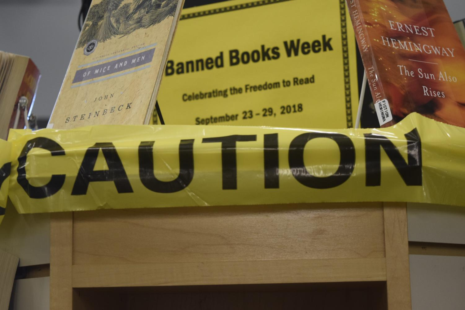 Banned book week stand in Littleton Colo., at the Edwin A. Bemis public library, Sept. 24, 2018.
