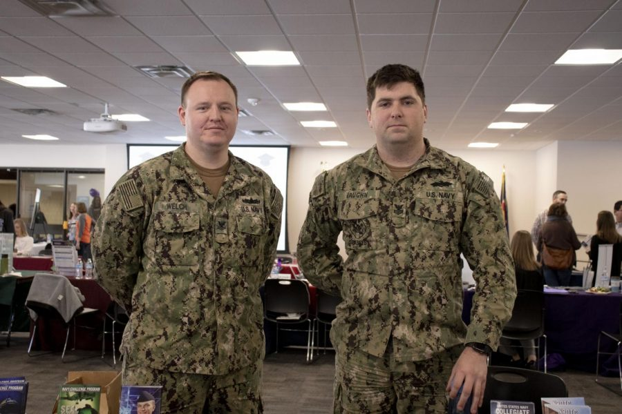 America's Navy, Scott Welch and Andrew Vaughn attend ACC's yearly Transfer Fair, Tuesday, Feb 26th, 2019. Welch and Vaughn grab the attention of students who are in need of information of the transfer options they offer at the United States Navy.