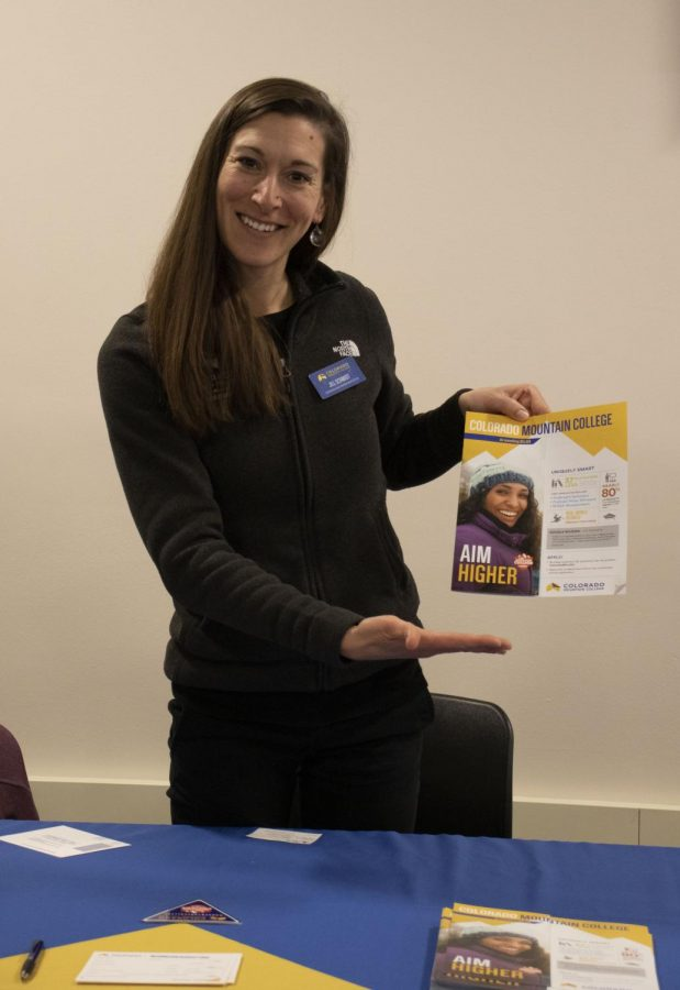 Jill Schmidt of Colorado Mountain College shows the brochure of the schools most important information, Tuesday, Feb 26, 2019. Jill told us that, Colorado Mountain College is one of the most affordable bachelor degree's in the state.