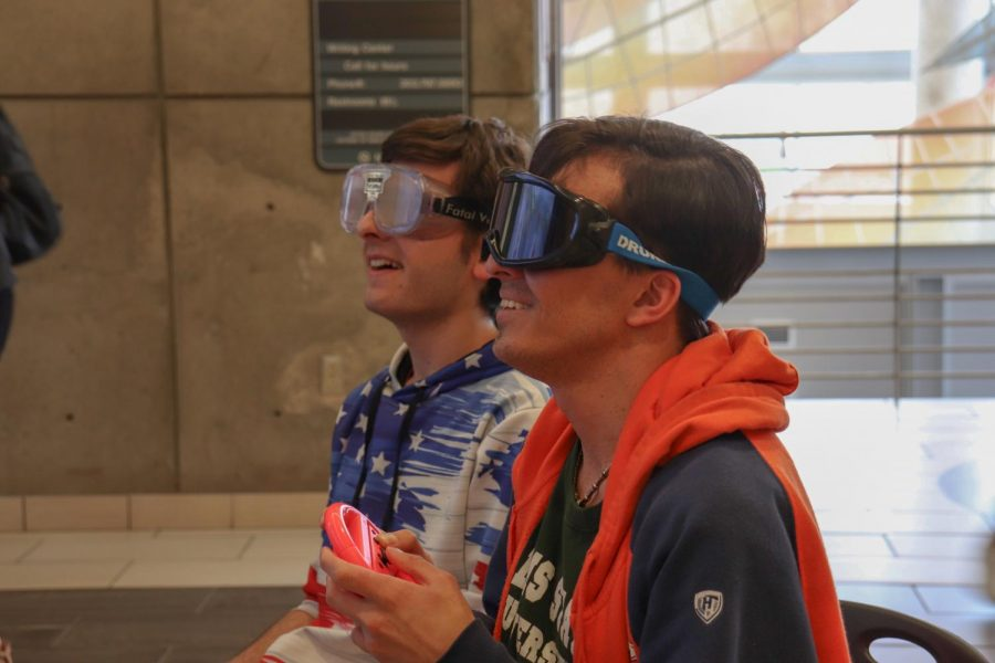 ACC students played Mario Kart while wearing vision impairment goggles to simulate drunk driving on Thursday, April 4, 2019. These students came to coffee with cop and substance awareness event to learn about the effects of drinking and driving.