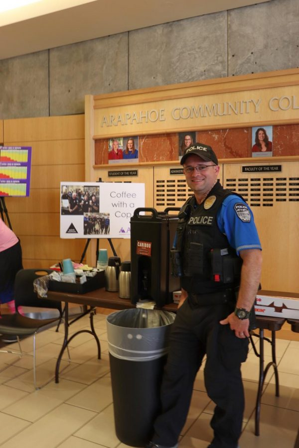 Officer K. Heylin stops by the atrium for Coffee with a Cop in the Littleton Campus, Thursday, April 4th, 2019. Officer Heylin had some conversations with students about substance abuse.