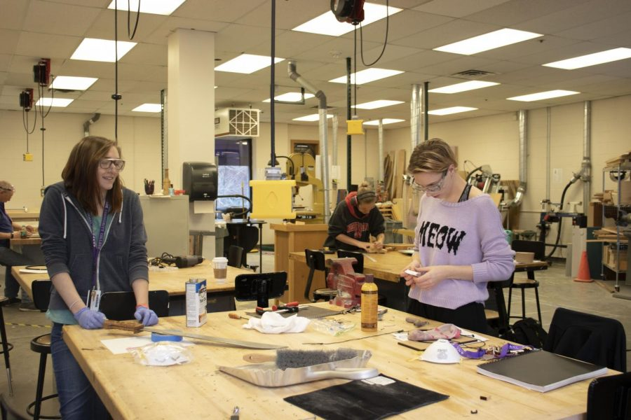 ACC Makers Space students working on projects in Art Design Building on Thursday April 18th, 2019.