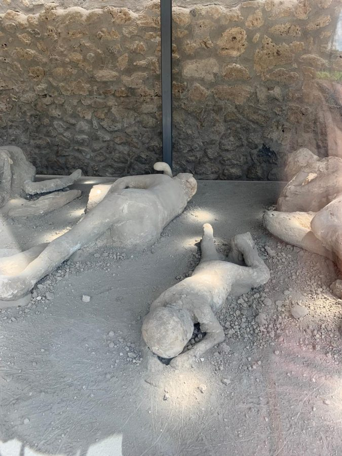 A large group of bodies are on display in a large case. The bodies are stuck in the same position they were in when they died from Mount Vesuvius' eruption. Photo taken on Thursday, June 20, 2019.