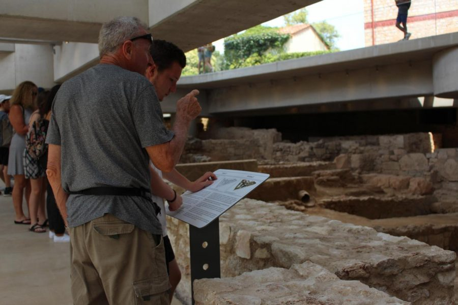 Information boards are scattered across the excavation site for visitors to read. There is a 4,500 year history in the remains that is elaborated on through the information boards. Photo taken on Monday, June 24, 2019.