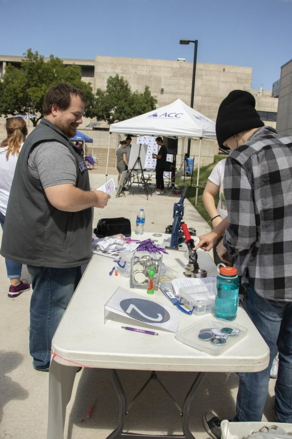 Booth two, button making booth at the Fresh Check day on Wed, Sept 18, 2019.