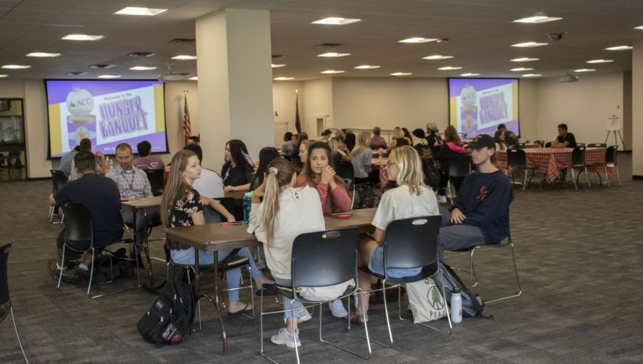 The Littleton ACC Campus hosted a Hunger Banquet on Wednesday Sept 11, 2019. The event's purpose was to raise hunger awareness and demonstrate the food security gap between ACC students, faculty and families.