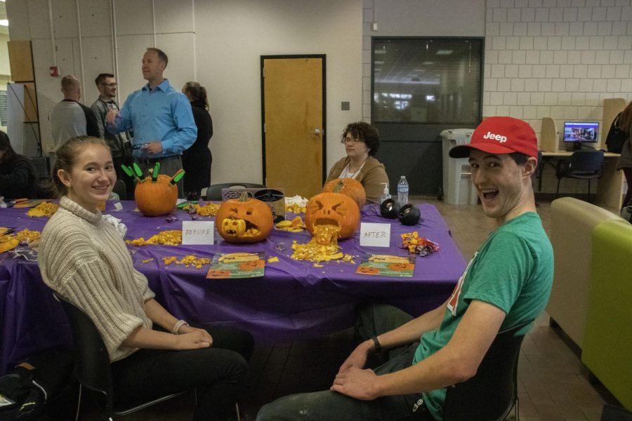 ACC students, (left to right) Rachel Cunningham and Garrett Lindsey with their finished pumpkins.