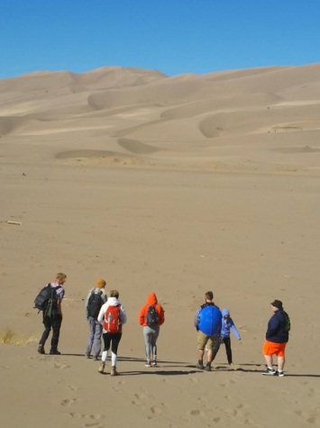 Students of the outdoor club at the National Sand Dunes Park at Colorado Springs.