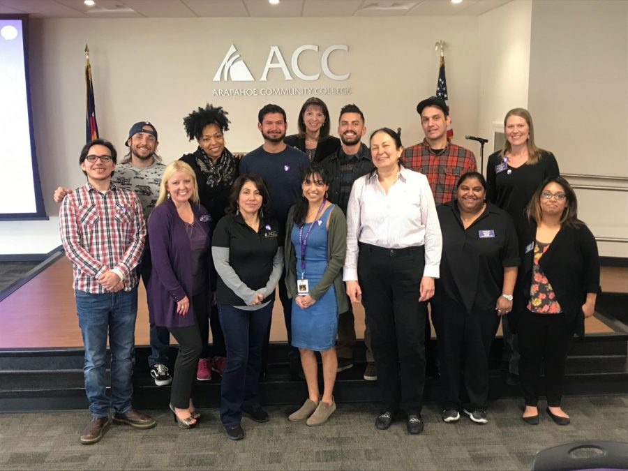 Students and faculty who attended the First Generation Luncheon pose for a photo. The luncheon was held on Nov. 6, 2019 to support first generation students at Arapahoe Community College.