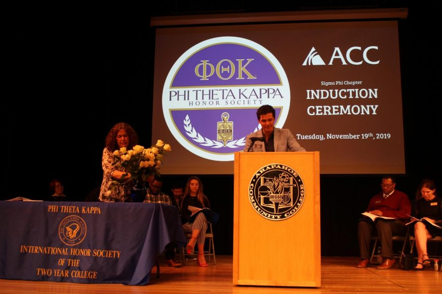 Gabe+Houhoulis%2C+PTK+Historian+and+ACC+Student+Body+President%2C+gives+a+speech+at+the+PTK+Induction+ceremony+at+Arapahoe+Community+College+in+Littleton%2C+Colo.+on+Tuesday%2C+Nov.+19%2C+2019.