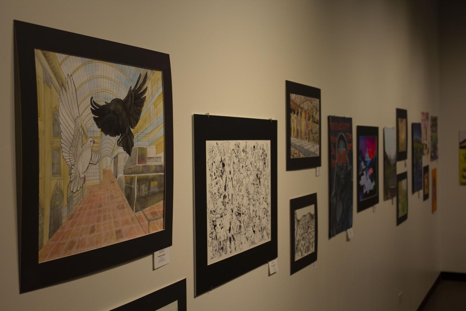 Art hung up at the Colorado Gallery of the Arts in Littleton, CO.
