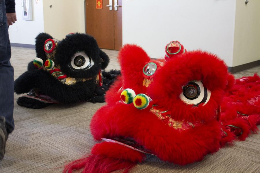 Two Chinese lion dance costumes, used later in the cultural show on January 25, 2020.