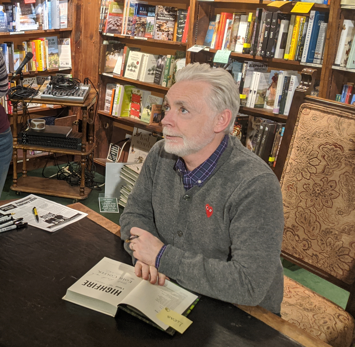 Author Eoin Colfer signing copies of his new book,
