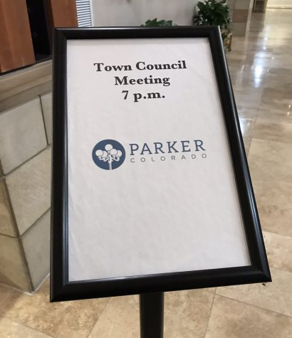 Town Council Meeting sign at Parker Town Hall on Tuesday Feb. 28, 2020.