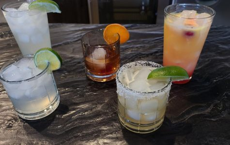 Back left to right: Paloma, Mezcal Old Fashioned, Tequila Sunrise   Front left to right: Mezcal Mule, Margarita