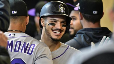 Candid shot of Nolan Arenado on May 2, 2019.