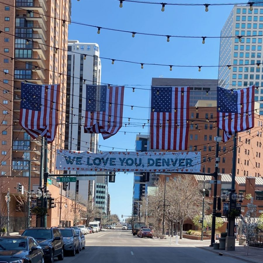 Banners hung across Larimer Street in Downtown Denver on April 7 2020. Set up to thank healthcare workers and show unity in the city of Denver.