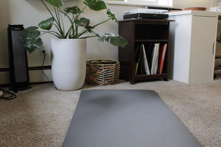 Yoga mat laid out to create a time of peace during the quarantine.