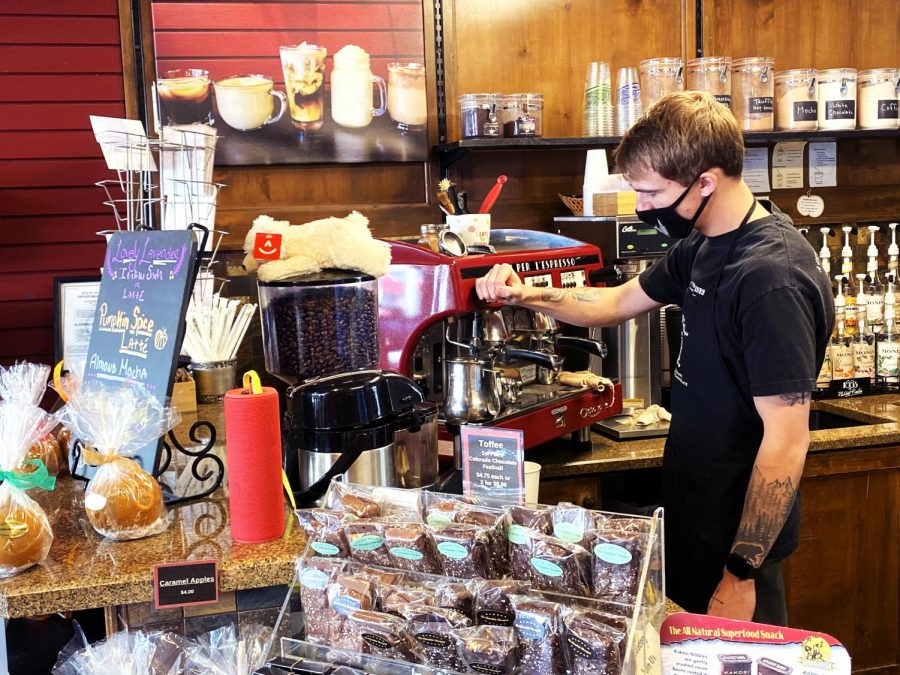 October 28, 2020, Chocolate Therapist Manager, Jon Ward, creates a speciality coffee