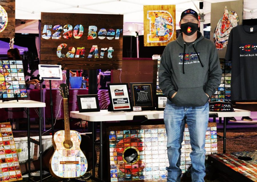 Aaron Jaramillo, owner of 5280 Beer Can Art. Festival Park Starlight Market, Castle Rock, Colo. Dec., 5, 2020.