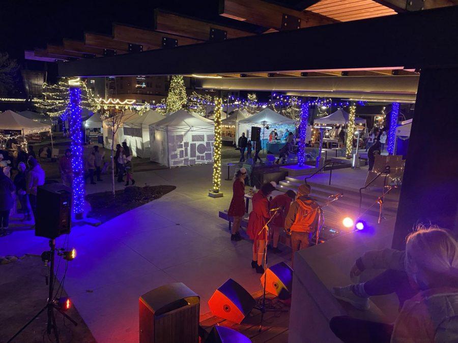 Vendor tents light up the Starlight Market event. Festival Park Starlight Market, Castle Rock, Colo., Dec., 4, 2020.