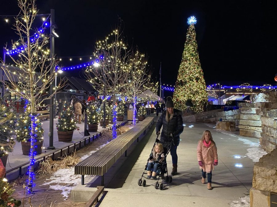 Visitors at Festival Park Starlight Market, Castle Rock, Colo., Dec., 4, 2020