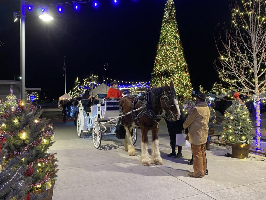 Horse-drawn carriage at the entrance of Festival Park in Castle Rock, Colo., December 5, 2020.
