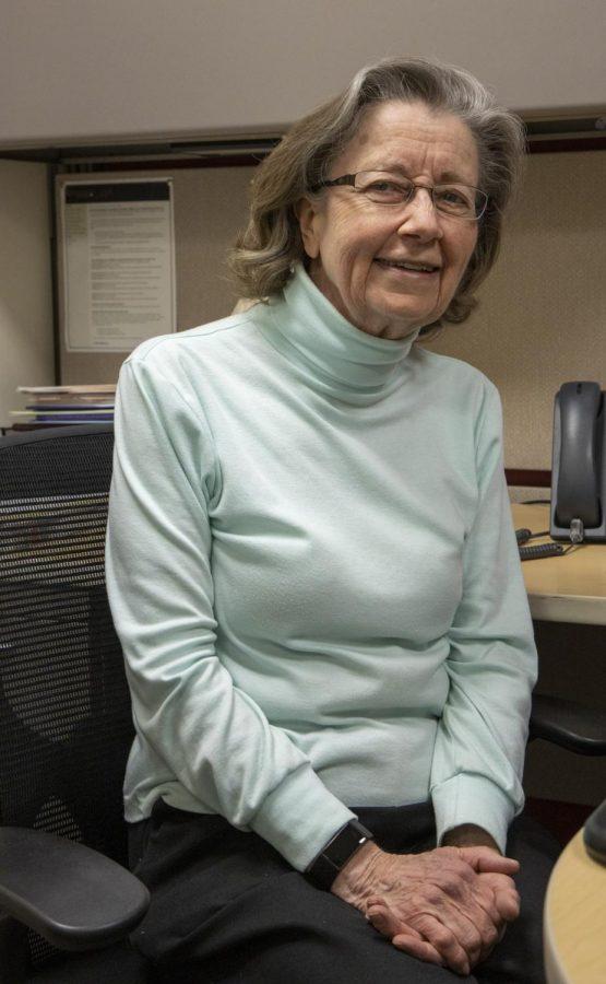 Karla Butler sits at her desk at ACC 02-12-2021