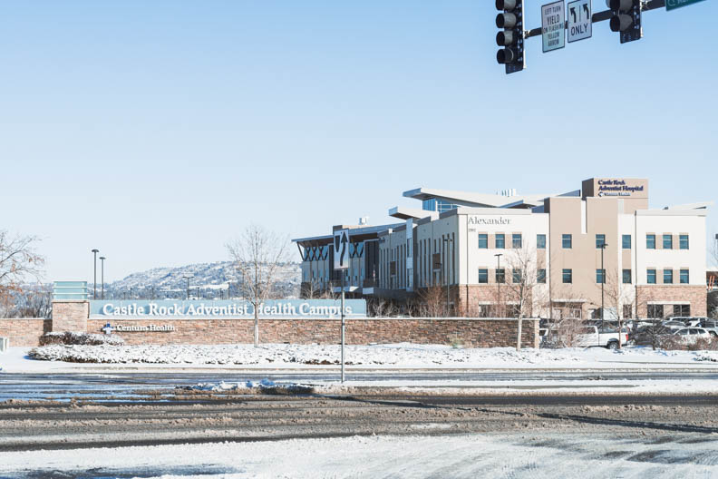 Hospital roads covered in snow in Castle Rock. February 25, 2021.