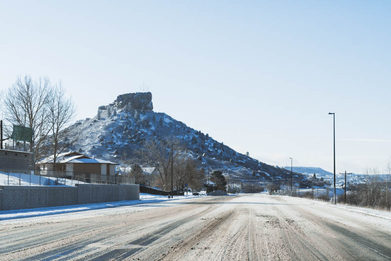 Castle Rock roads covered in snow causing delays and school closures. February 25, 2021.