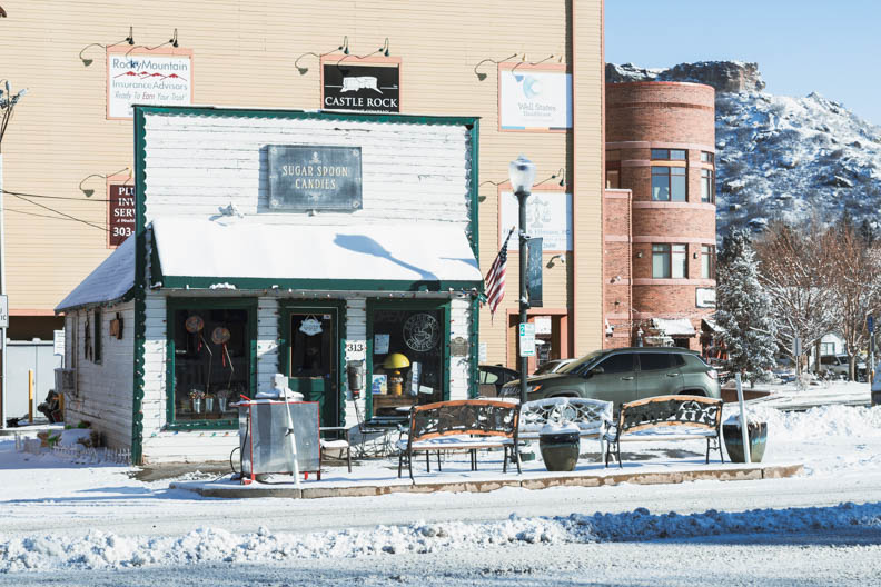 Small business in Castle Rock closed this morning with snow covering its sidewalk. February 25, 2021.