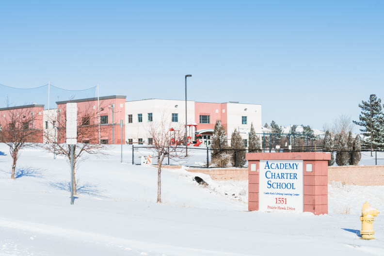 Academy Charter School In Castle Rock closed today due to snow storm. February 25, 2021.
