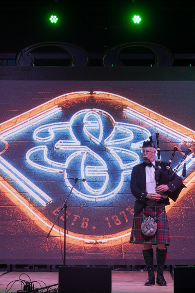 Michael Lancaster on the bagpipes for Number Thirty Eight's St. Patricks day Celebration.