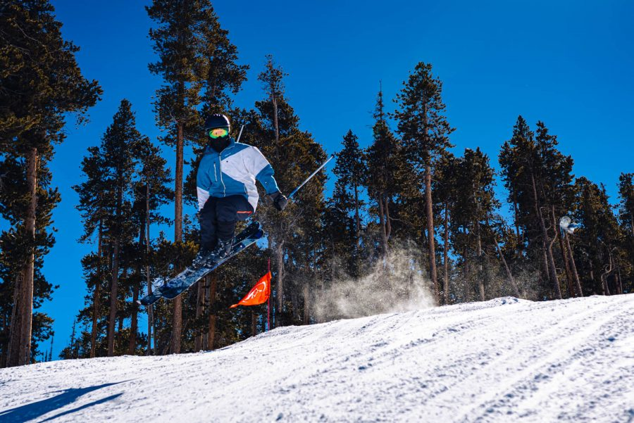 Unknown skier jumps at the terrain park in Keystone, Colorado on February 22nd, 2021.