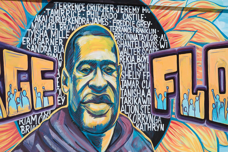 Mural of George Floyd in Minneapolis, MN taken August 17, 2020. The death of George Floyd sparked thousands of protests against police brutality in the summer of 2020.