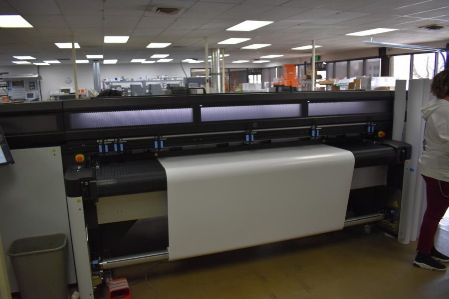 The HP® Latex R2000 Latex Printer used by Hampden Press. This massive roller is used to laminate large prints, such as posters. April 23, 2021.