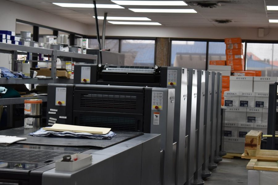The Heidelburg SM52 is a massive printer used at Hampden Press. The printer is strictly for mass-producing prints. April 23, 2021.