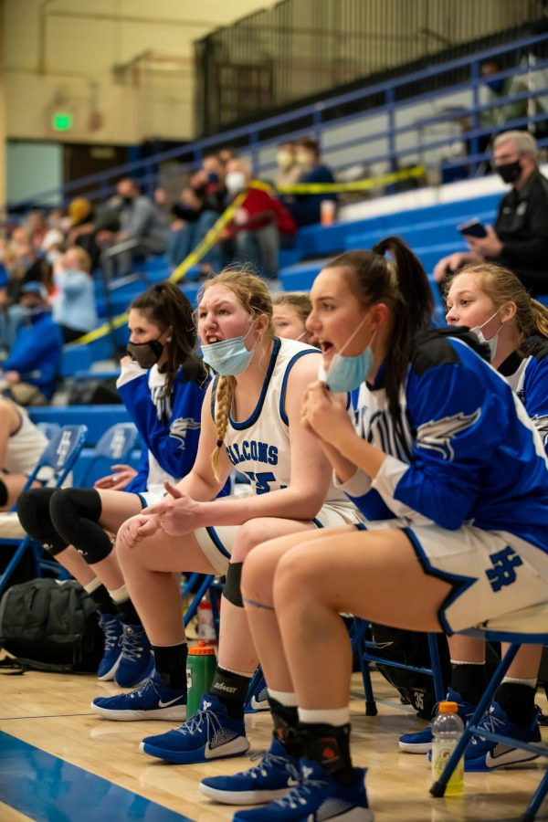 Highlands Ranch teammates vocalize a bad call from a referee during the playoff game at Highlands Ranch High School on March 9th, 2021.