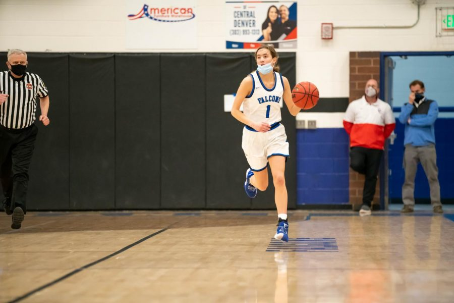 Payton Muma runs down the court looking for a possible break-away or open teammate at Highlands Ranch High School on March 9th, 2021.